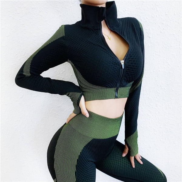 Yoga Long Sleeve High Waist Bodycon Skinny Zipper Pant Sets