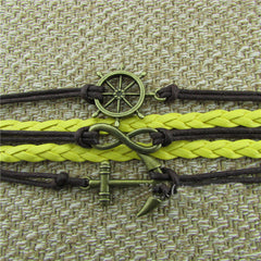 Retro Anchor Rudder Leather Cord Bracelet - Oh Yours Fashion - 2