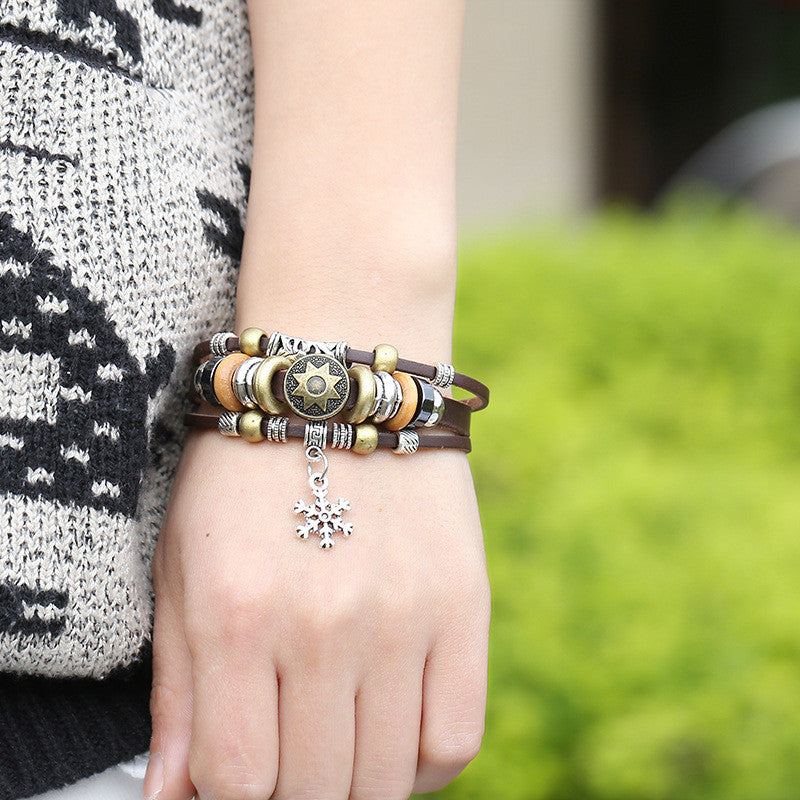 Korea Style Snowflake Leather Bracelet - Oh Yours Fashion - 2