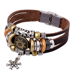 Korea Style Snowflake Leather Bracelet - Oh Yours Fashion - 1