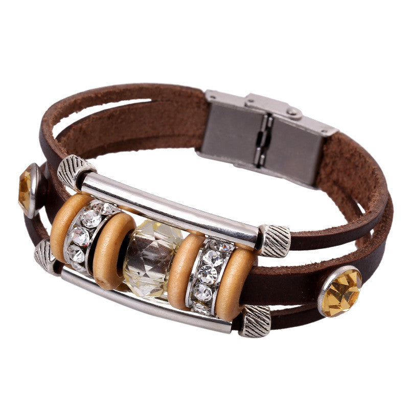 Crystal Beaded Leather Bracelet - Oh Yours Fashion - 5