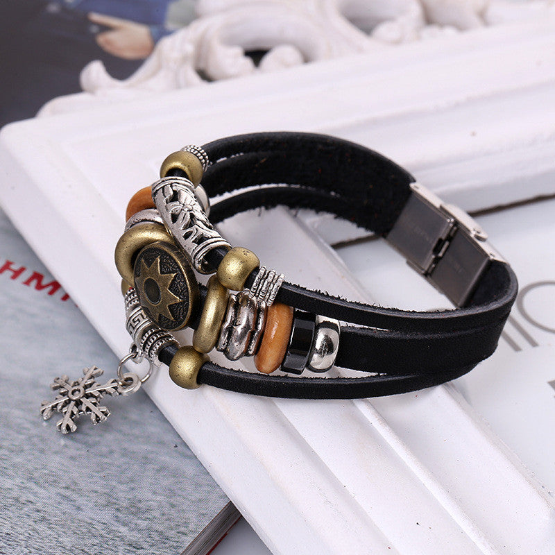 Korea Style Snowflake Leather Bracelet - Oh Yours Fashion - 4