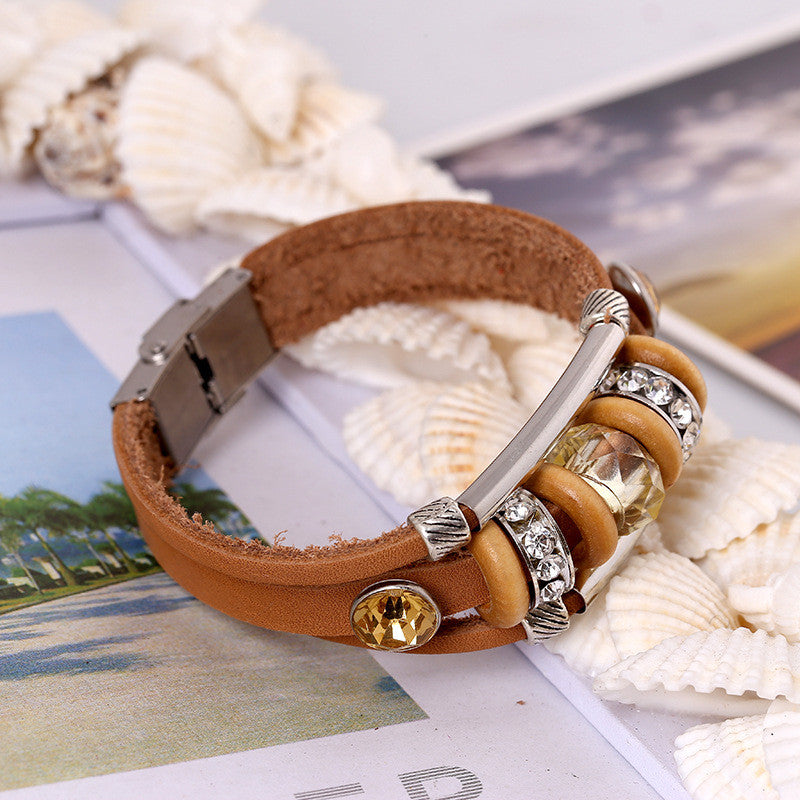 Crystal Beaded Leather Bracelet - Oh Yours Fashion - 1