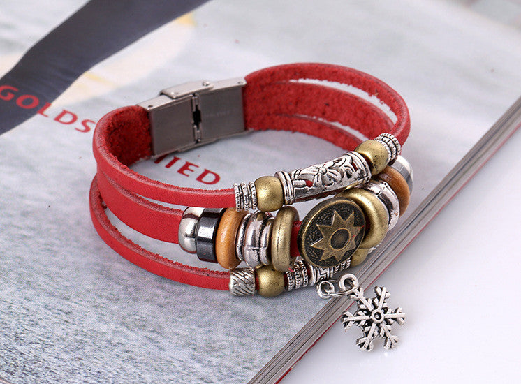 Korea Style Snowflake Leather Bracelet - Oh Yours Fashion - 3