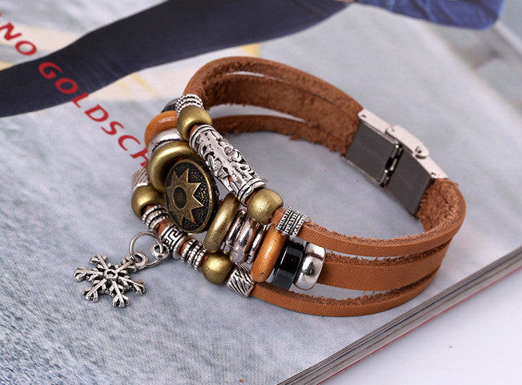 Korea Style Snowflake Leather Bracelet - Oh Yours Fashion - 5