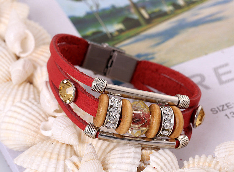 Crystal Beaded Leather Bracelet - Oh Yours Fashion - 3