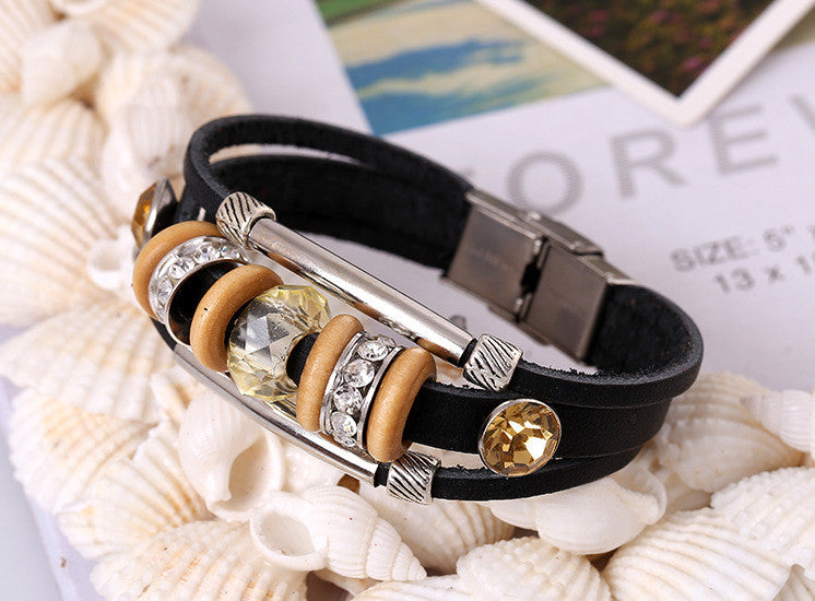 Crystal Beaded Leather Bracelet - Oh Yours Fashion - 4