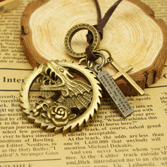 Hot Sale Circular Gear Skeleton Leather Necklace - Oh Yours Fashion - 2