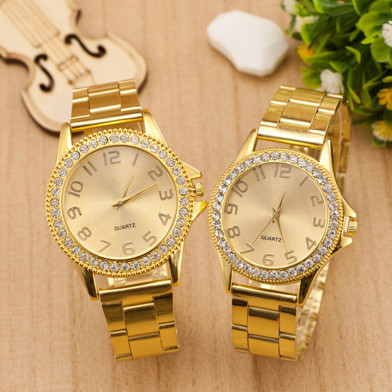 Golden Crystal Alloy Strap Watch - Oh Yours Fashion - 2