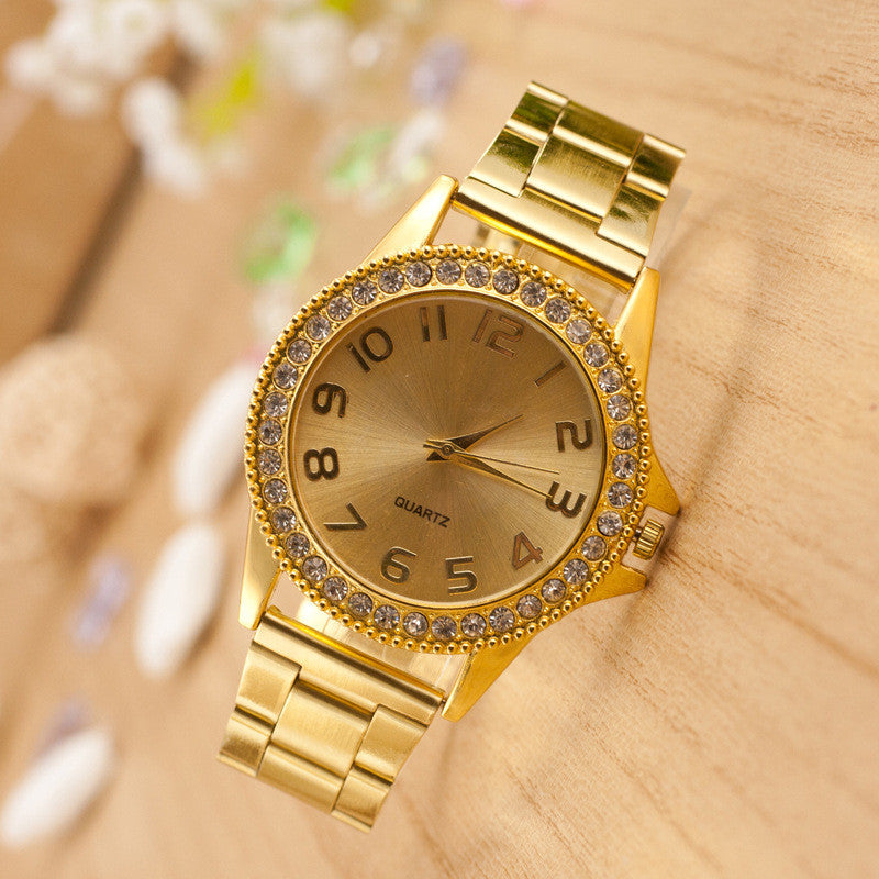 Golden Crystal Alloy Strap Watch - Oh Yours Fashion - 1