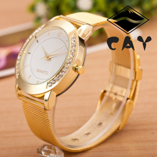 Golden Alloy Strap Personality Watch - Oh Yours Fashion - 2