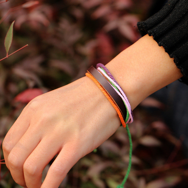 Multicolor Woven Leather Bracelet - Oh Yours Fashion - 3