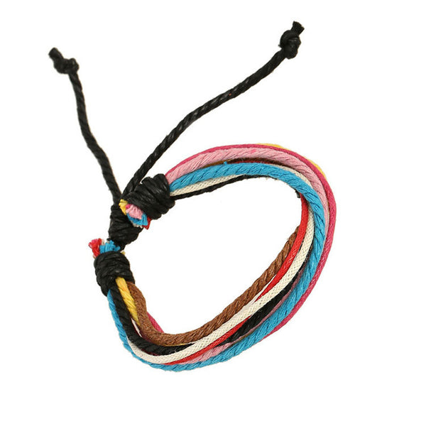 Hemp Wax String Woven Colorful Bracelet - Oh Yours Fashion - 2