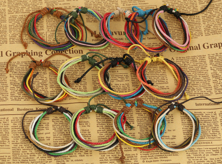 Hemp Wax String Woven Colorful Bracelet - Oh Yours Fashion - 4