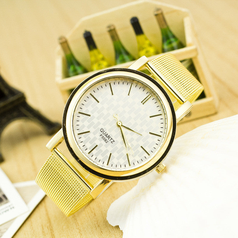 Golden Alloy Mesh Popular Watch - Oh Yours Fashion - 1