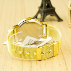 Golden Alloy Mesh Popular Watch - Oh Yours Fashion - 2