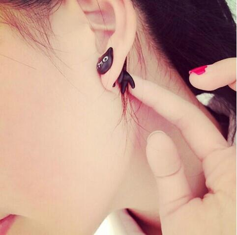 Cute Black Kitty Through Earring