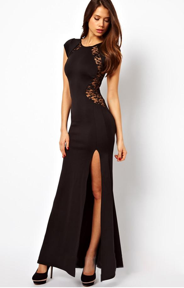 Maxi Lace Back Side Split Long Party Dress - MeetYoursFashion - 10