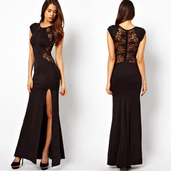 Maxi Lace Back Side Split Long Party Dress - MeetYoursFashion - 1