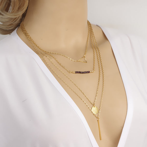 Crystal Beads Sequins Multilayer Necklace - Oh Yours Fashion - 1