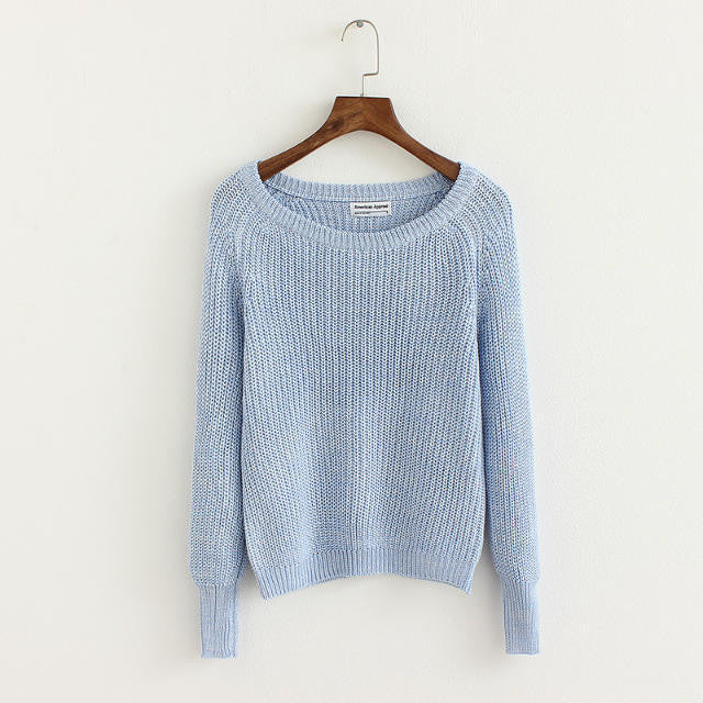 Pullover Loose Scoop Retro Bold Lines Sweater - Oh Yours Fashion - 9