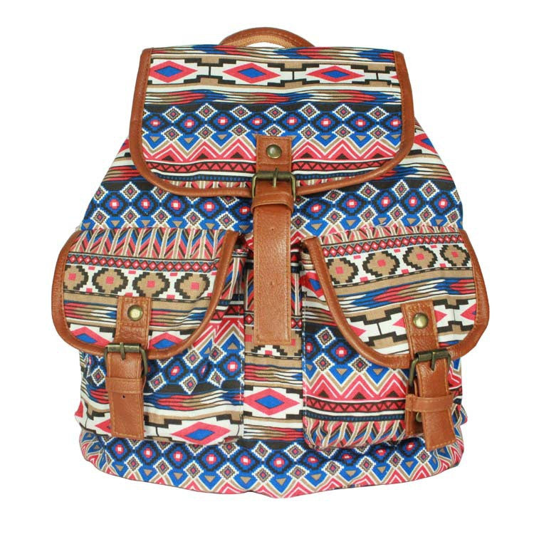 National Style Shoulder Canvas Students Backpack Bag - Oh Yours Fashion - 1