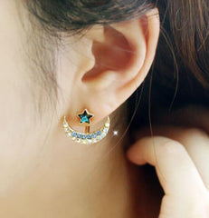 Color Crystal Moon Star Earrings - Oh Yours Fashion - 2