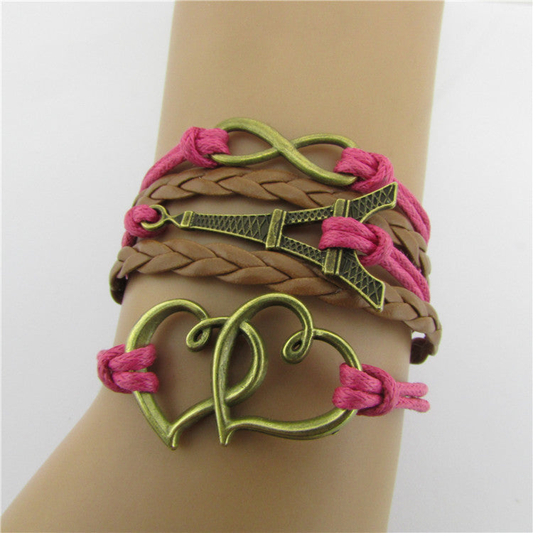 Eiffel Tower Heart Multilayer Woven Bracelet - Oh Yours Fashion - 1