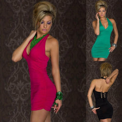 Backless Halter Sleeveless Slim Short Dress - Meet Yours Fashion - 2