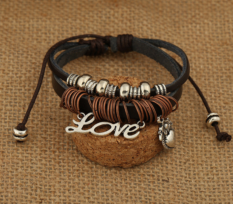 Love Heart Beaded Leather Bracelet - Oh Yours Fashion - 3