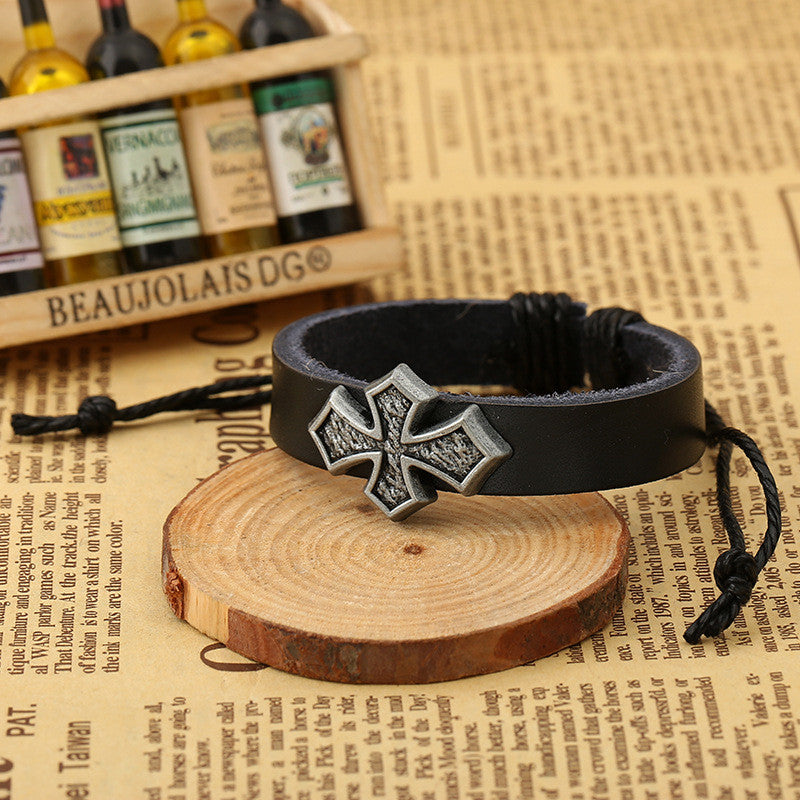 Personality Cross Decorate Leather Bracelet - Oh Yours Fashion - 6