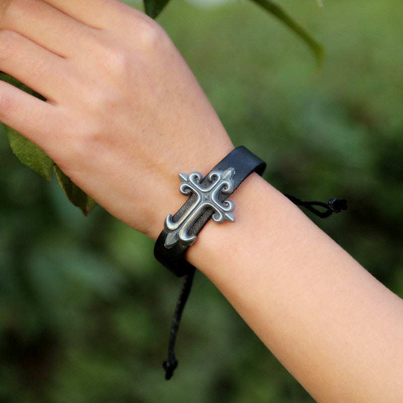 Personality Cross Decorate Leather Bracelet - Oh Yours Fashion - 9
