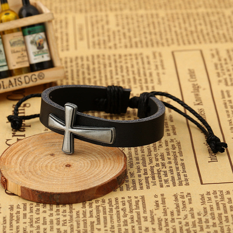 Personality Cross Decorate Leather Bracelet - Oh Yours Fashion - 3