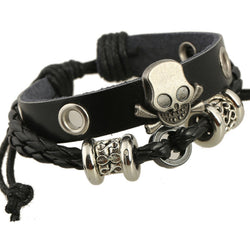 Beaded Skull Leather Bracelet - Oh Yours Fashion - 1