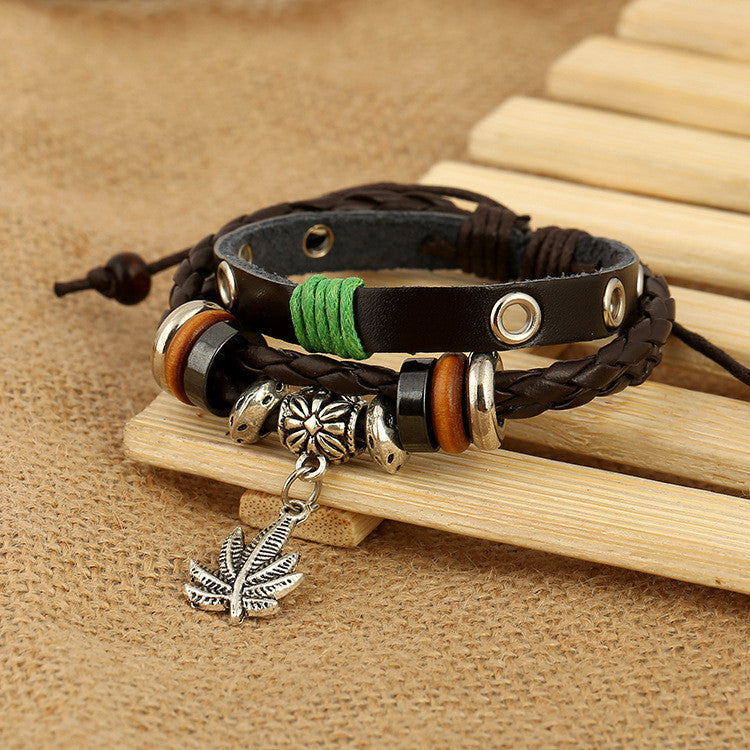 Maple Leaf Pendant Leather Bracelet - Oh Yours Fashion - 3