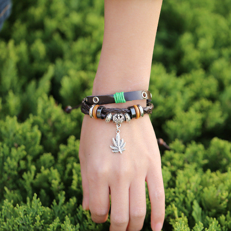 Maple Leaf Pendant Leather Bracelet - Oh Yours Fashion - 2
