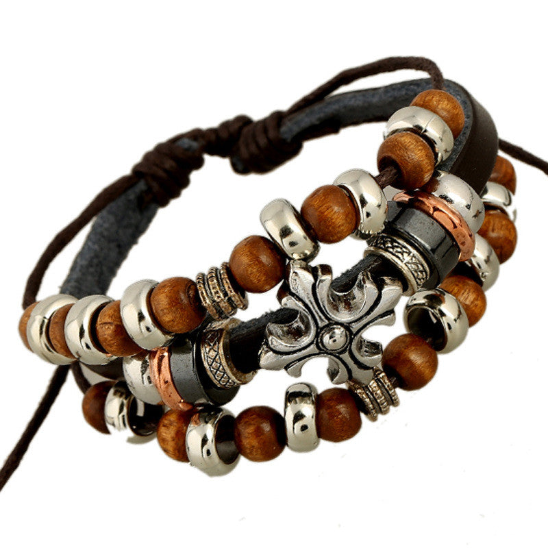Cross Wooden Beaded Leather Bracelet - Oh Yours Fashion - 1