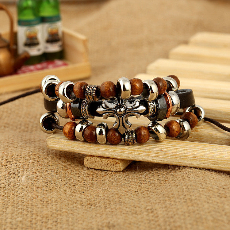 Cross Wooden Beaded Leather Bracelet - Oh Yours Fashion - 3