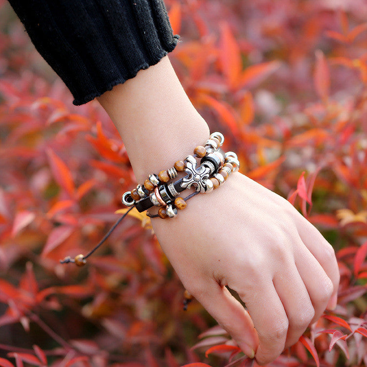 Cross Wooden Beaded Leather Bracelet - Oh Yours Fashion - 2
