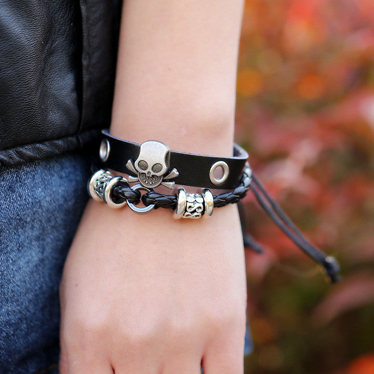 Beaded Skull Leather Bracelet - Oh Yours Fashion - 3