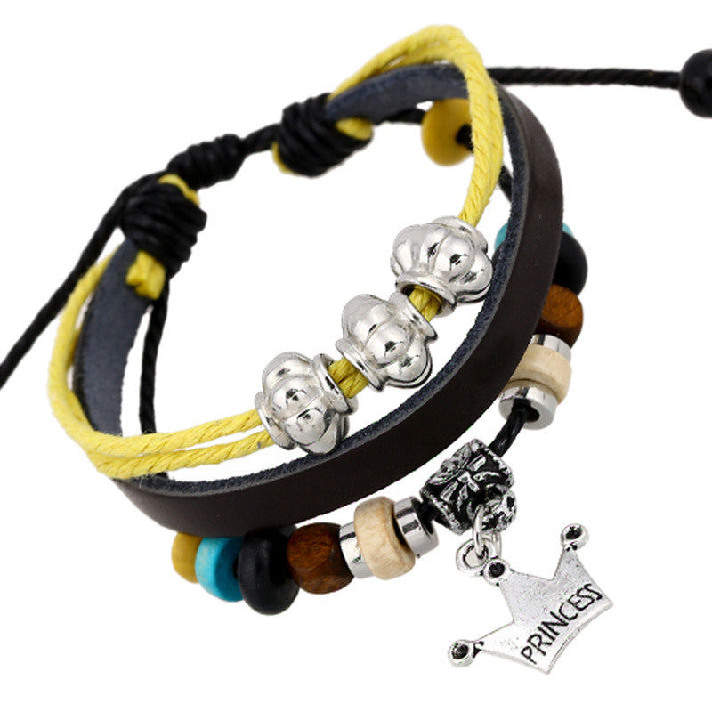 Fashion Temperament Joker Crown Leather Bracelet - Oh Yours Fashion - 1