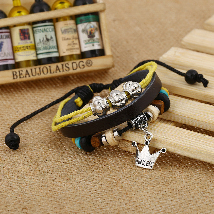 Fashion Temperament Joker Crown Leather Bracelet - Oh Yours Fashion - 3