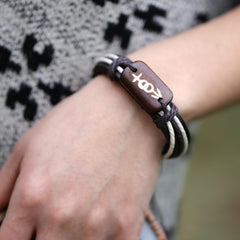 Carving Bone Woven Leather Bracelet - Oh Yours Fashion - 2