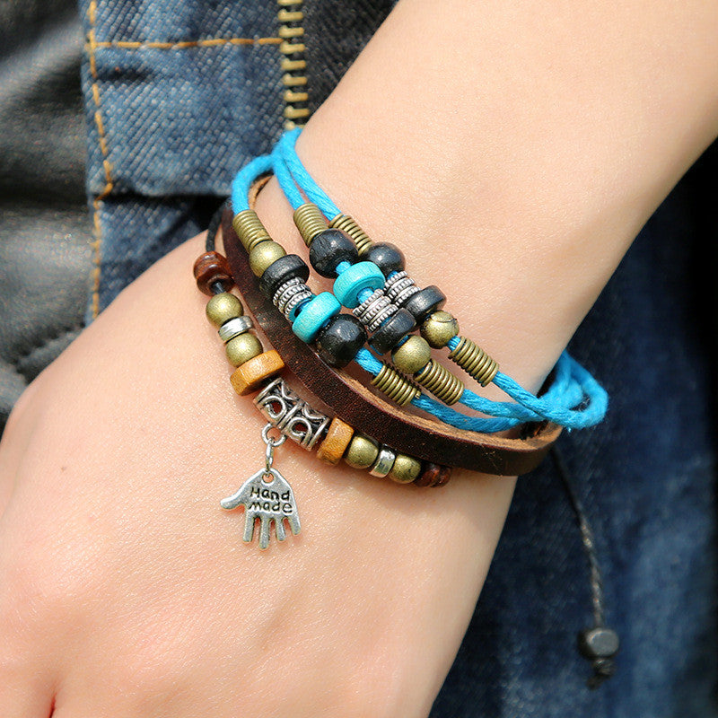 Hand Pendant Multilayer Leather Bracelet - Oh Yours Fashion - 3