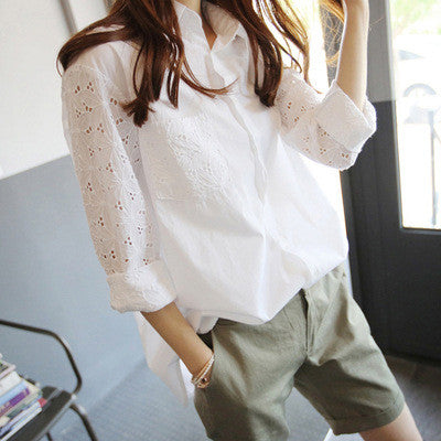 Turn-down Collar Lace Hollow Out Long Sleeves Casual Blouse - Oh Yours Fashion - 2
