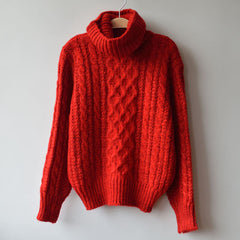 High Neck Pullover Loose Solid Color Knit Sweater - Oh Yours Fashion - 6