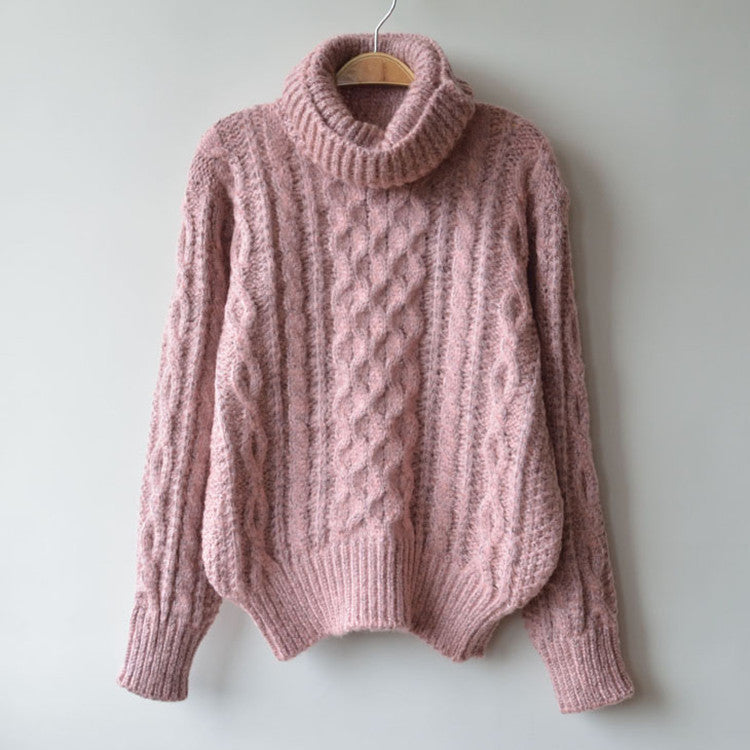 High Neck Pullover Loose Solid Color Knit Sweater - Oh Yours Fashion - 7