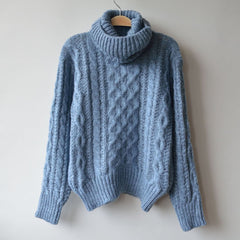 High Neck Pullover Loose Solid Color Knit Sweater - Oh Yours Fashion - 2