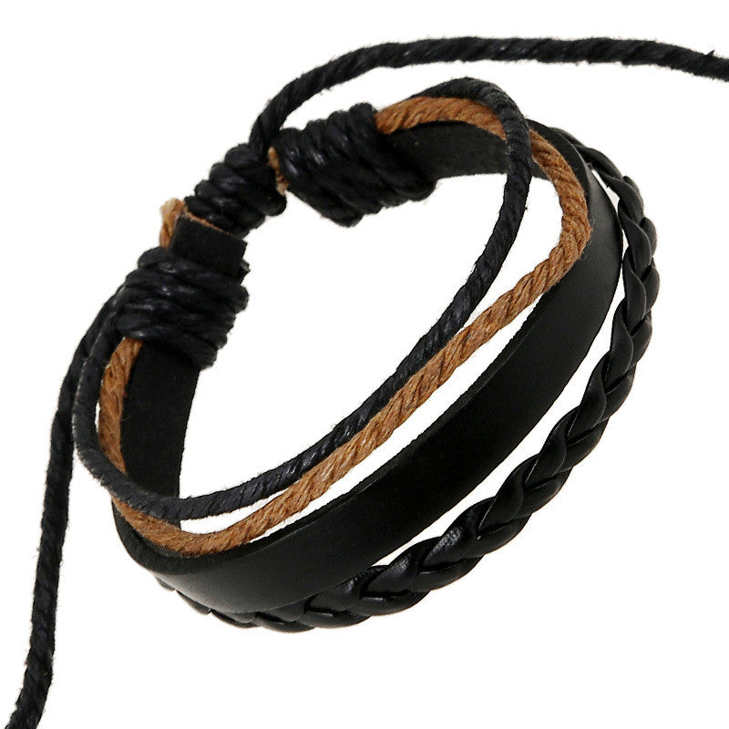 Simple Multilayer Woven Leather Bracelet - Oh Yours Fashion - 1