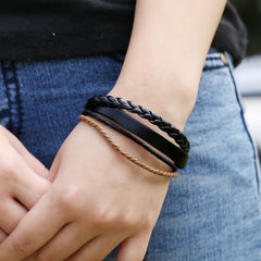 Simple Multilayer Woven Leather Bracelet - Oh Yours Fashion - 2